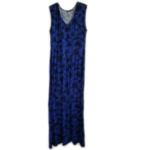 Apt. 9 blue long sleeveless floral dress large